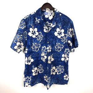 RJC Hawaiian Shirt Size XL Blue/White Flower Print